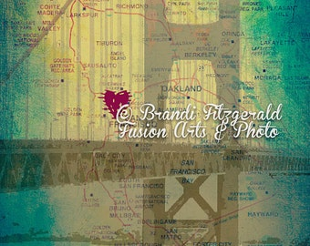 Golden Gate Love Vintage Map Wall Decor Product Options and Pricing via Dropdown Menu