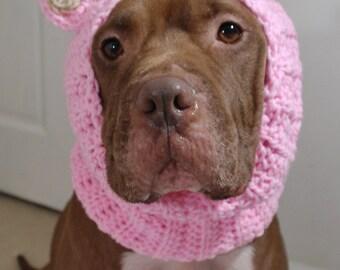 Dog Ear Warmer Pink Bear MADE TO ORDER