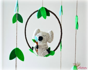 Koala mobile - australian - Nursery baby mobile - Felt green, blue, heather beige - Nursery decor - MADE TO ORDER
