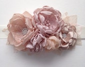 Bridal Sash - Five Flower Sash - Shades of Champagne and Blush Pink - Vintage Style Sash, Bridesmaid Sash, Bridal Sash, Wedding Dress Sash