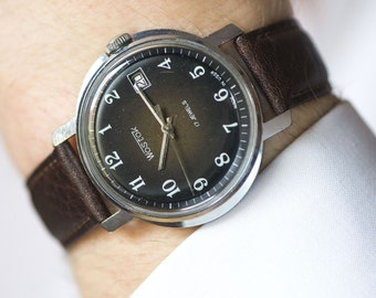 Black men's watch, chunky dude's watch East, dress watch big, minimalist watch him, premium leather strap new