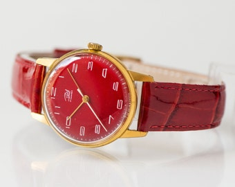 Gold plated women's watch, retro mechanical watch red, minimal watch for her, premium leather band new