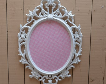 White framed magnetic board-pink and white, nursery decor, pink and white