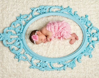 Turqoise Ornate frame-Photo Booth Prop - Frame Only, baroque, ornate, oval frame, nursery frame, baby photo prop, light blue, robins egg