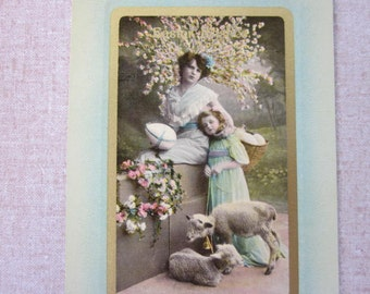 FREE SHIPPING Antique Victorian Easter Photo Postcard Mother and Daughter