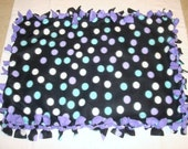 Fleece Tie Pet Blanket for Cats or Small Dogs - Black with Purple and Aqua Polka Dots