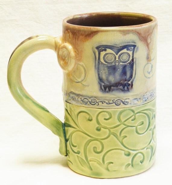handmade ceramic owl coffee mug 16oz stoneware 16C002