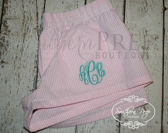 Monogrammed Seersucker Pajama Shorts - pink or blue available