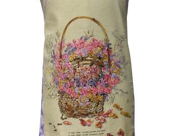 Metro Retro 'Pot Pourri Basket ' Vintage Tea Towel Ladies Womens Kitchen Apron . Mother's Day Birthday, Gift Idea .  Hand Made