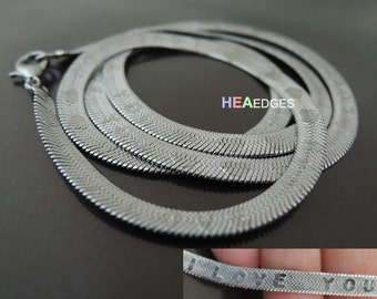 1 Set Flat Snake Chain 4mm - Finding Silver Snake Chain Necklace I Love You ( Length 500mm )