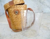 Vintage French Wicker Basket With Spa Glass Vichy French Decor Shabby Chic Vintage Souvenir