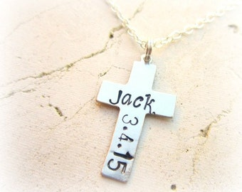 Boys First Communion Gift.Boys First Communion Necklace.Personalized Mens Cross Necklace.Confirmation Necklace.Boys Communion Jewelry