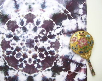 Tie-dyed Bandana Scarf with Purple and White Mandala