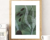 Imaginary landscape-Original art-Plant life-Unique gift-Deep green art-Home decoration-Gift for man-Present for him-Gift for her-Watercolour