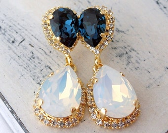 White opal and blue Chandelier earrings, blue and white, Bridal earrings, 14k Gold Dangle earrings, Drop earrings, Swarovski earrings