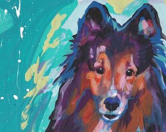 "Shetland Sheepdog Sheltie portrait print of bright pop art painting 8x8"" LEA"