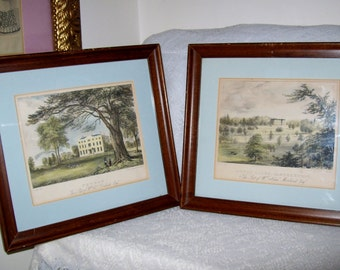 Antique 1830s Hand Colored Lithographs Framed and Matted Pair for 56 USD