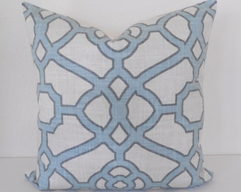 Light blue trellis decorative pillow cover