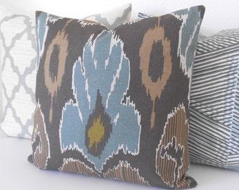 Ikat decorative pillow cover, spa teal blue, brown and grey, throw pillow