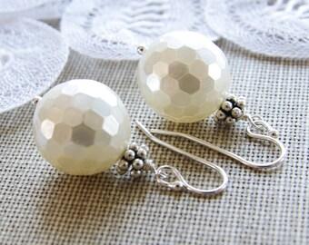 Shell Pearl Earrings Sterling Silver Drop Earrings Bali Bead White Bridesmaid Earrings Gift Ocean Beach Casual Wedding Jewelry