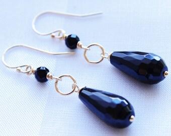 Black Onyx Earrings Black Dangle Earrings Onyx Jewelry 14kt Gold Fill Gemstone Drop Earrings Black Bridesmaid Earrings Wedding Jewelry