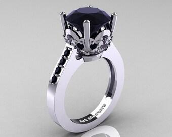 Classic 14K White Gold 3.0 Carat Black Diamond Solitaire Wedding Ring R301-14KWGBDD