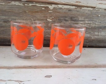 Retro Bright Orange Tumbler - Vintage Juice Glass, Mid Century Orange Barware, Party Glasses, Retro Drink Ware, ONE GLASS ONLY