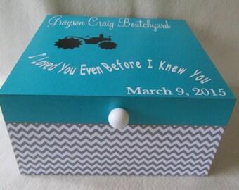Memory Box - Keepsake Box - Large - Tractor - Gray Chevron - Teal - Personalized