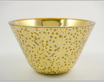Blown Glass Bowl in Gold and White Polka Dots, 23-Karat Gold Leaf on Glass, Verre Eglomisé, Home Decor, Decorative Usable Glass Art