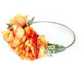 ON SALE. Orange Floral Crown, flower crown, fall, head piece, boho, Woodland, Bohemian, autumn floral crown, Flower Crown
