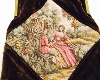Vintage Brown Velvet Tapestry Bag