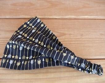 Womens Headband Fabric Headband Spring Fashion Accessories Women Headwrap Bandana in Black with Gold, Silver Arrow print