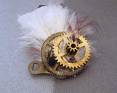 Steampunk Brooch - Victoriana Vintage Accessory Cogpunk Retro Antique Feather Charm Bohemian