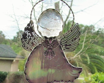 Gray and White Iridescent Glass - Stained Glass Angel Ornament/Suncatcher/Gift Tag with Tibetan Silver Angel Charm