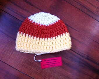 0-3 months Crocheted Photo Prop Candy Corn Beanie Hat for boy or girl 14 in. - IN STOCK