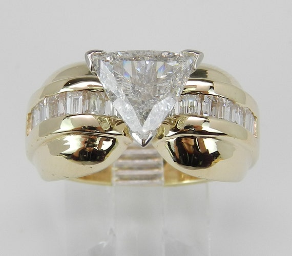 1.60 ct Natural Trillion Diamond Engagement Ring 14K Yellow Gold Size 6