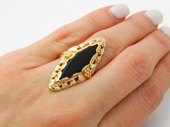 REDUCED Antique Vintage Onyx Ring 10K Yellow Rose Pink Gold Black Size 8.25