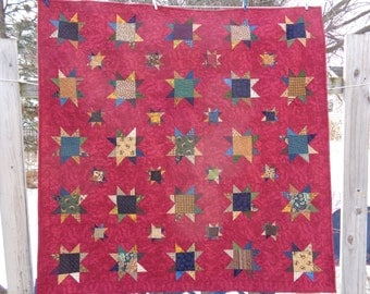 Scrappy Stars on Red Quilt, Falling Stars Wall Quilt 1106-01
