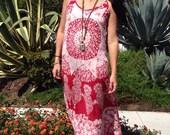 Vintage Indian Dress// Gauzy Cotton Dress// Hippie Boho Festival Dress// Handmade Maxi Dress