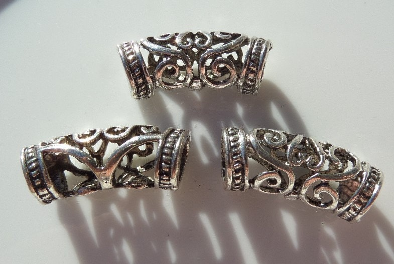 Mm antique silver curved tube spacer bead