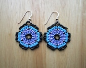 Huichol Style Flower Mandala Earrings - Purple Seed Beaded - Hand Made in USA