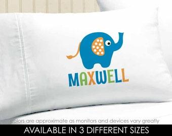 Elephant Pillowcase - BOYS Personalized Pillow case - Monogram Pillowcase - Jungle Pillowcase