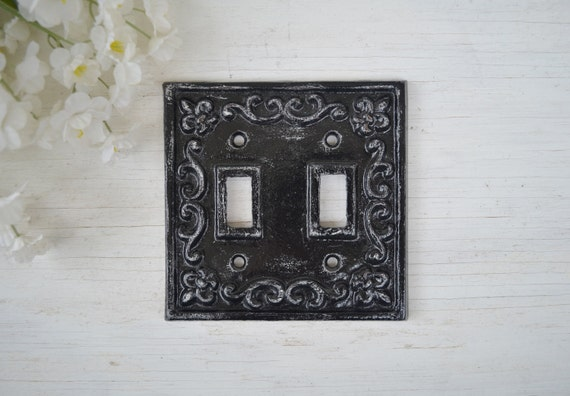 Cast iron toggle double switch plate cover ornate wall decor - Wrought iron switch plate covers ...