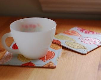 Fabric Coasters Set of 4 / Autumn Leaves