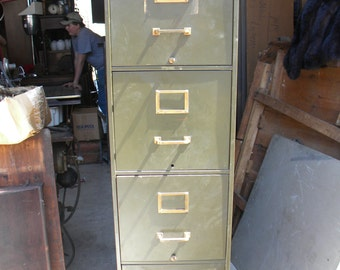 nice strong shape big 1920s or so green metal INDUSTRIAL machine age 4 drawer file FILING storage CABINET  pick up only