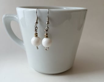 Gold and White Drop Earrings