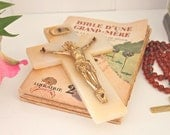 French Vintage Crucifix in Alabaster and Brass - SALE (WAS 55.00)