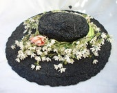 Vintage Black Woven Hat Wide Brim Killer Chic Millinery Flowers ~ With Hat Pin ~ Mabel Fisher