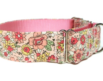 "Peach Dog Collar 1.5"" Flower Dog Collar Martingale"
