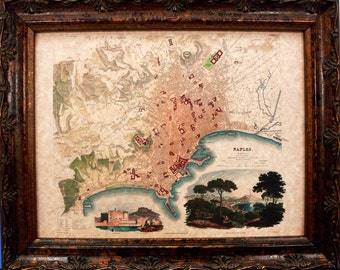 Naples Italy Map Print of a 1835 Map on Parchment Paper